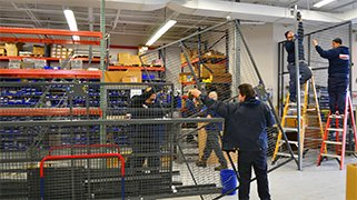 Installation of racking and caging for warehousing, stockrooms, and storage